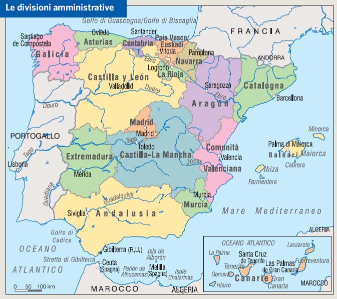 Cartina Della Spagna Con Le Regioni.Spagna Regioni Mappa