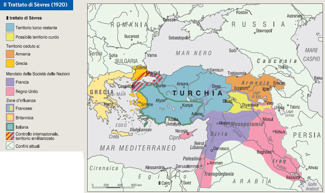 Mappa del trattato di Sevres