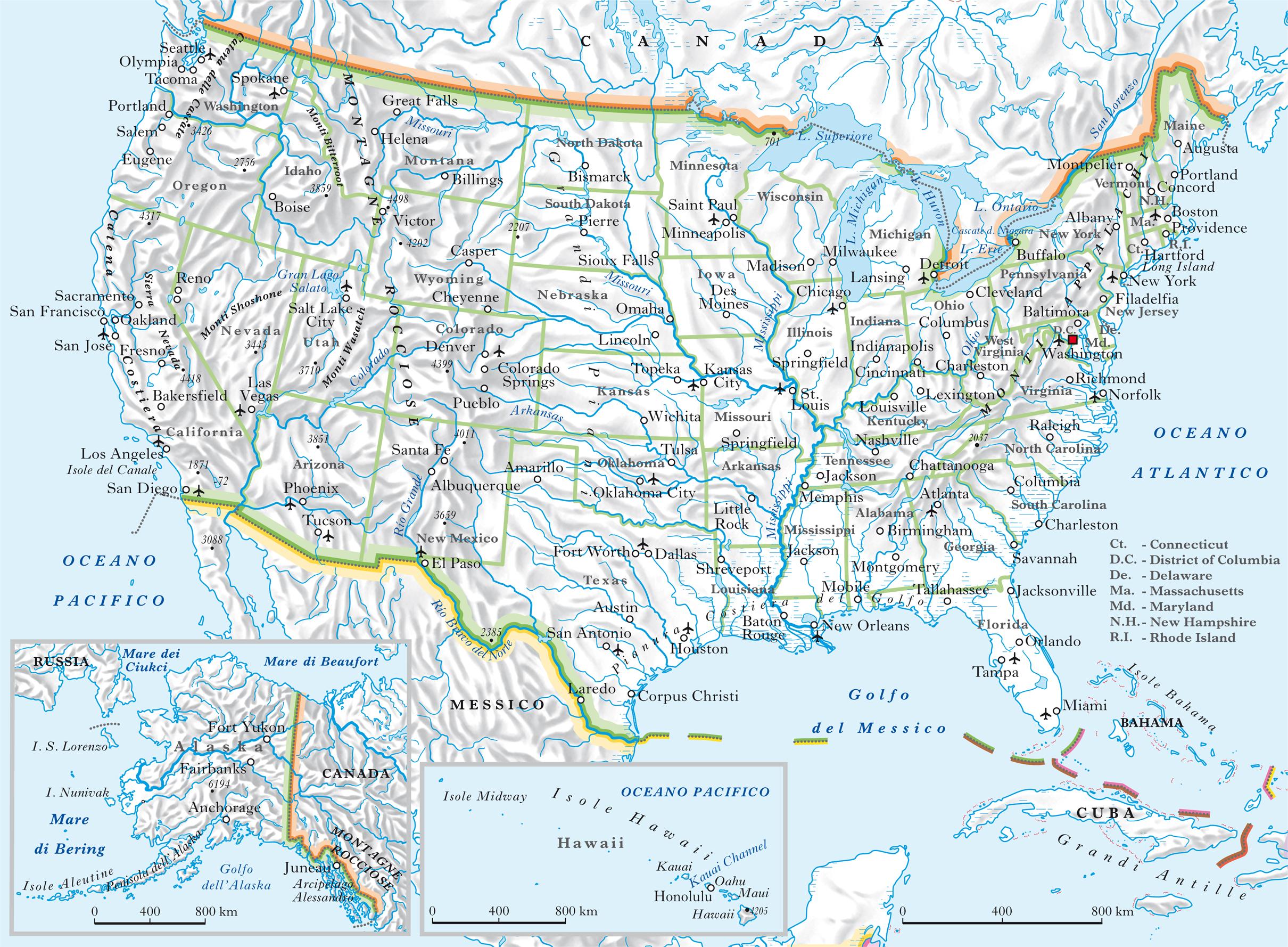 Cartina America Stati Uniti.Stati Uniti D America Mappa Idrografia