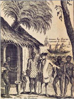Incisione raffigurante la tratta degli schiavi, da Francois Froger, Relation d-un voyage fait en 1695, 1696, 1697 aux cotes d-Afrique- commandee par M. de Gennes, Parigi 1698. Parigi, Musee de la Marine