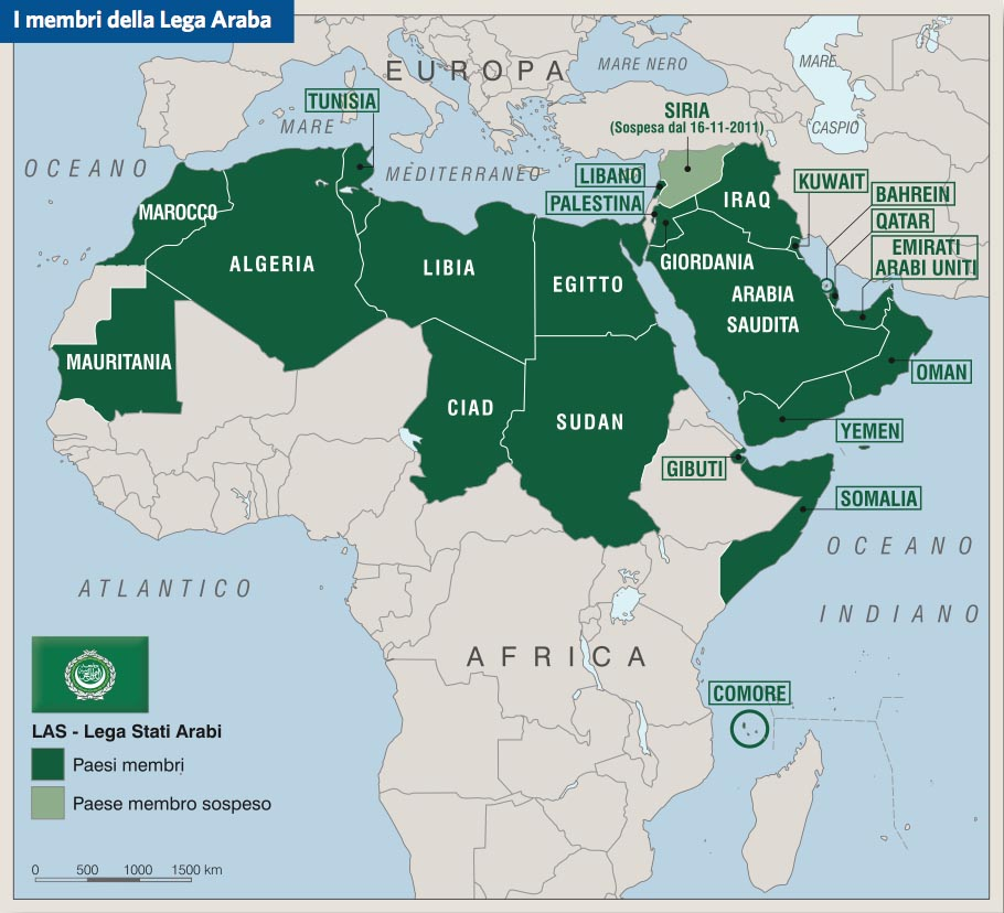 Cartina Geografica Dei Paesi Arabi.League Of Arab States Las Lega Degli Stati Arabi In Atlante Geopolitico