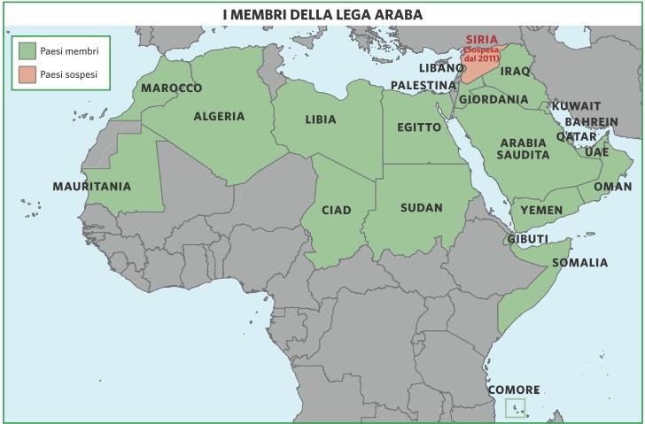 Mondo Arabo Cartina.League Of Arab States In Atlante Geopolitico