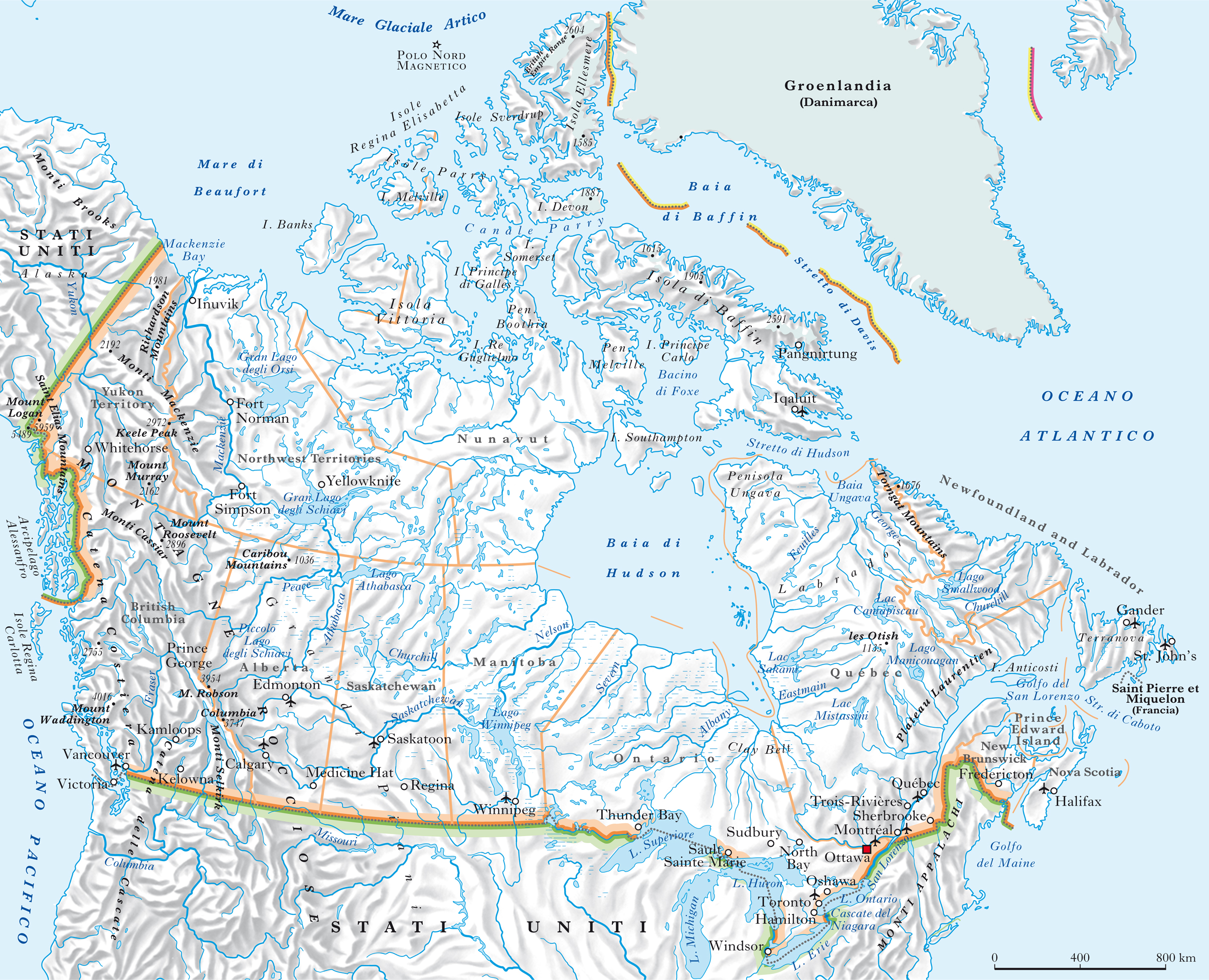 Canada Cartina Fisica.Canada Nell Enciclopedia Treccani