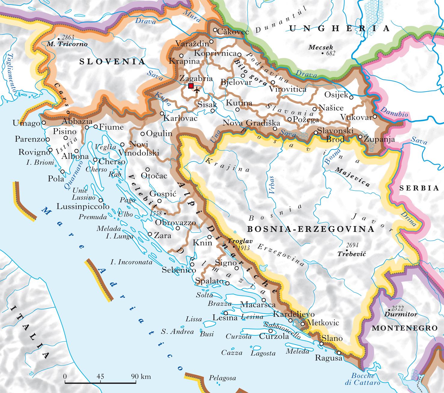 Dalmazia Cartina Geografica.Croazia In Atlante Geopolitico