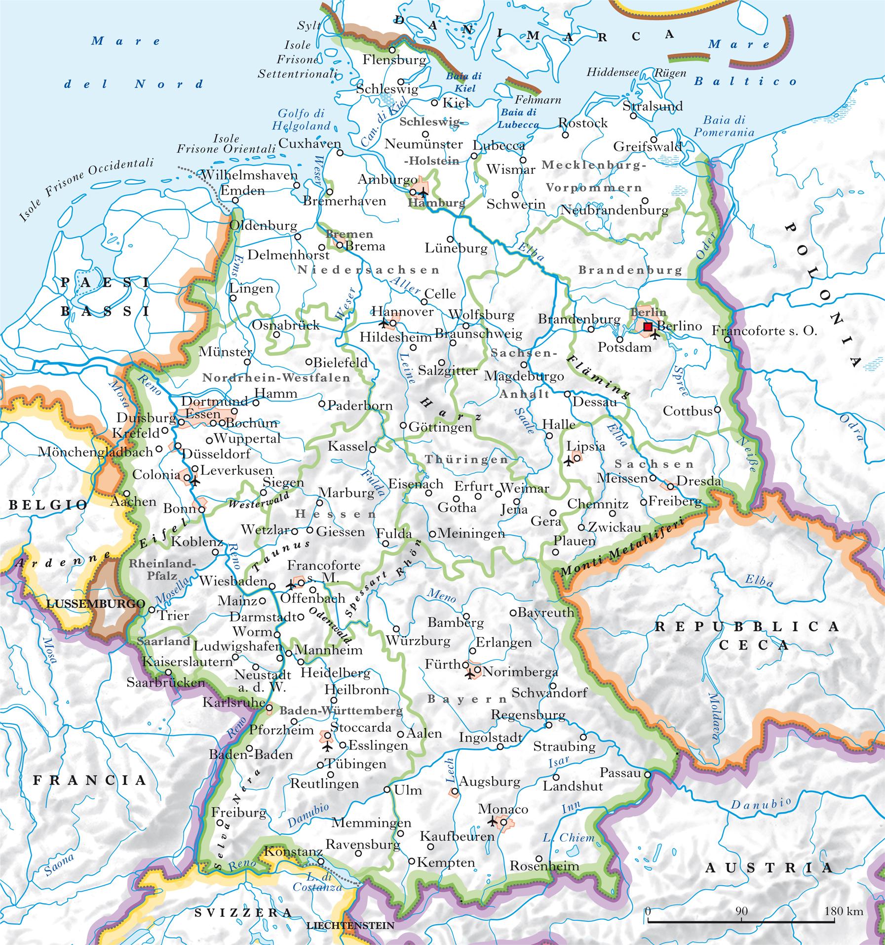 Mappa Fiumi Germania