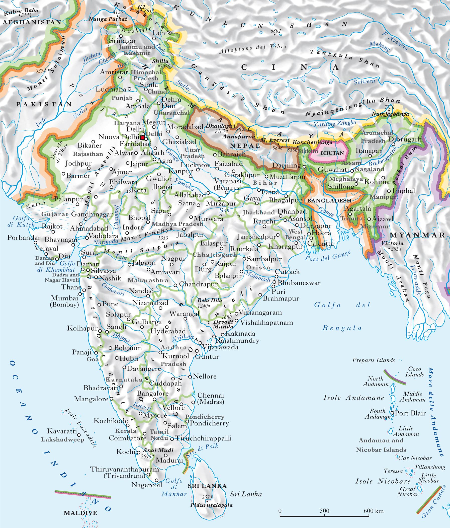 India Cartina Geografica.India In Atlante Geopolitico