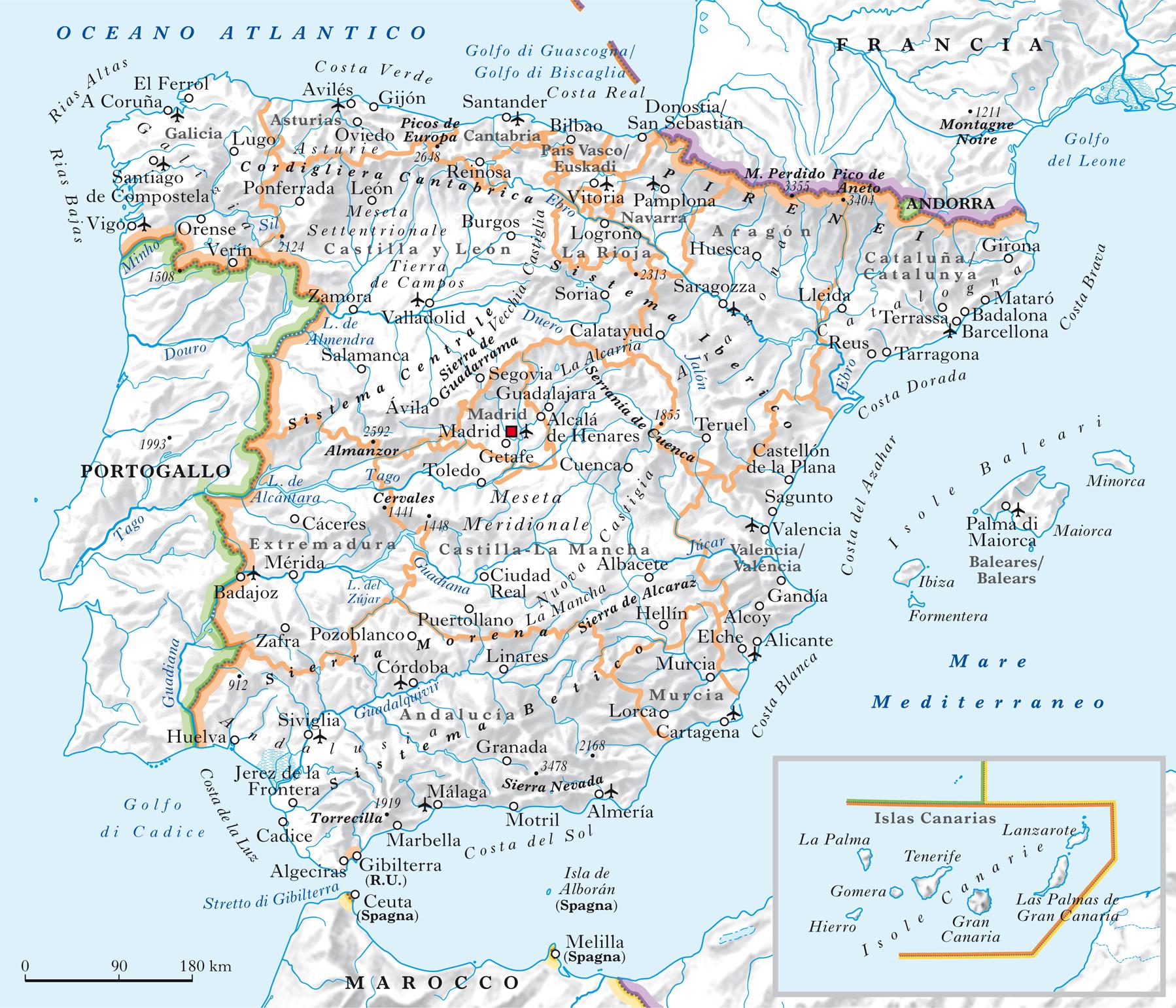 Cartina Rilievi Spagna.Spagna Nell Enciclopedia Treccani