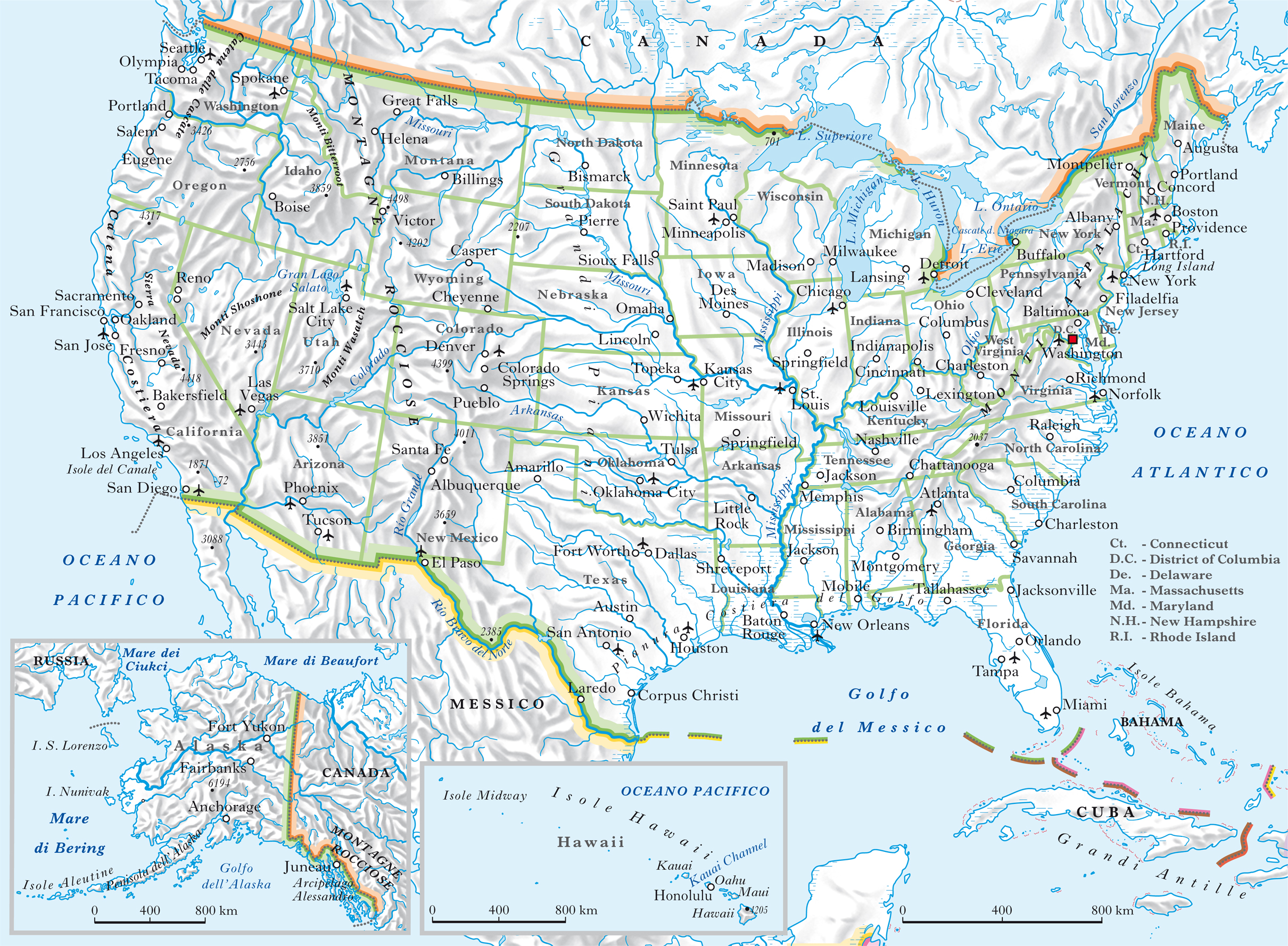Cartina Stradale Usa Ovest.Stati Uniti D America Nell Enciclopedia Treccani