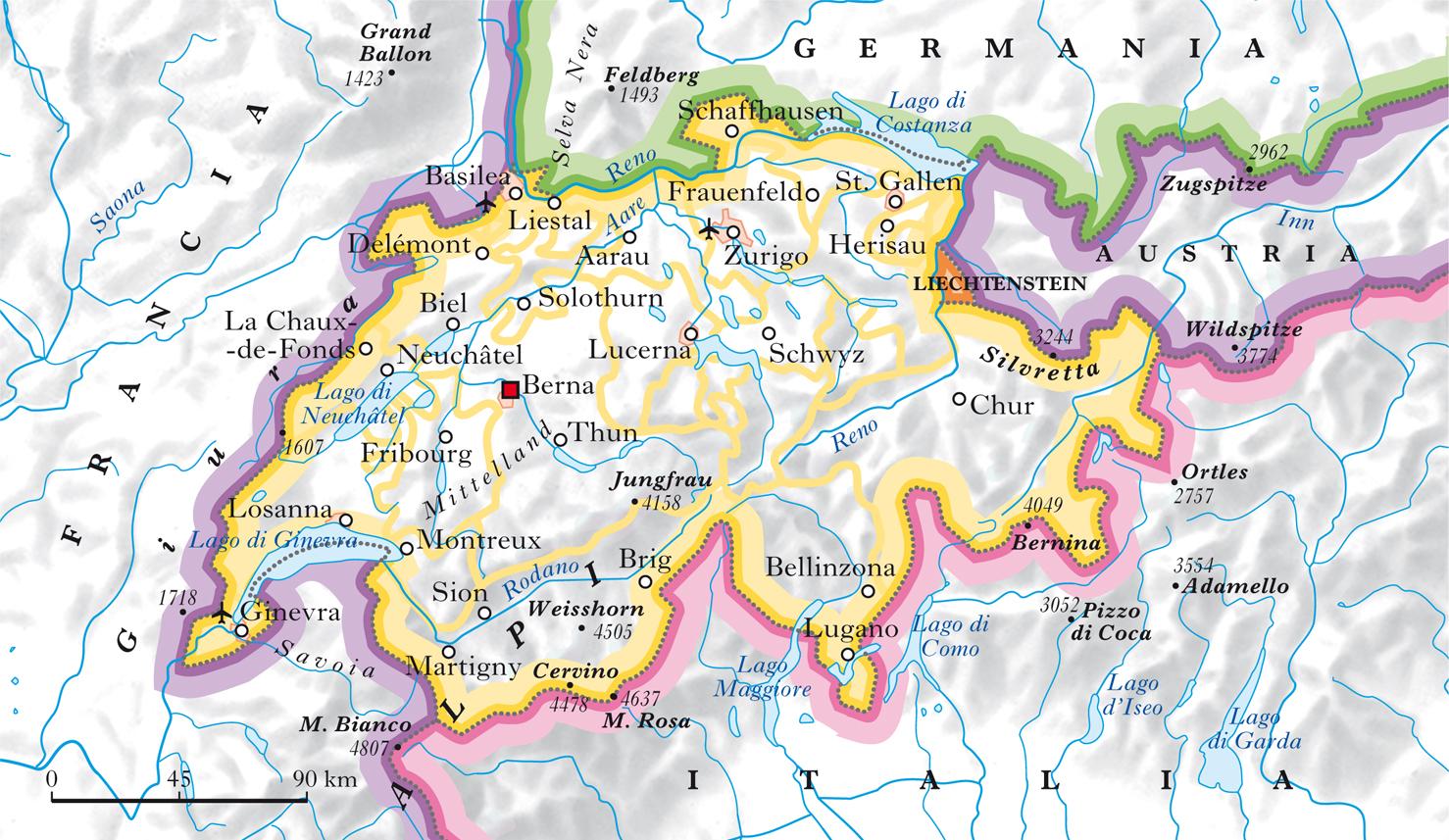 Svizzera Cartina Geografica Cantoni.Svizzera In Atlante Geopolitico