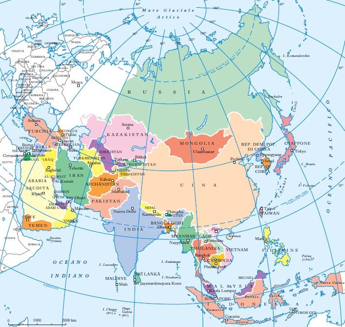 Cartina Politica Asia.Asia In Enciclopedia Italiana