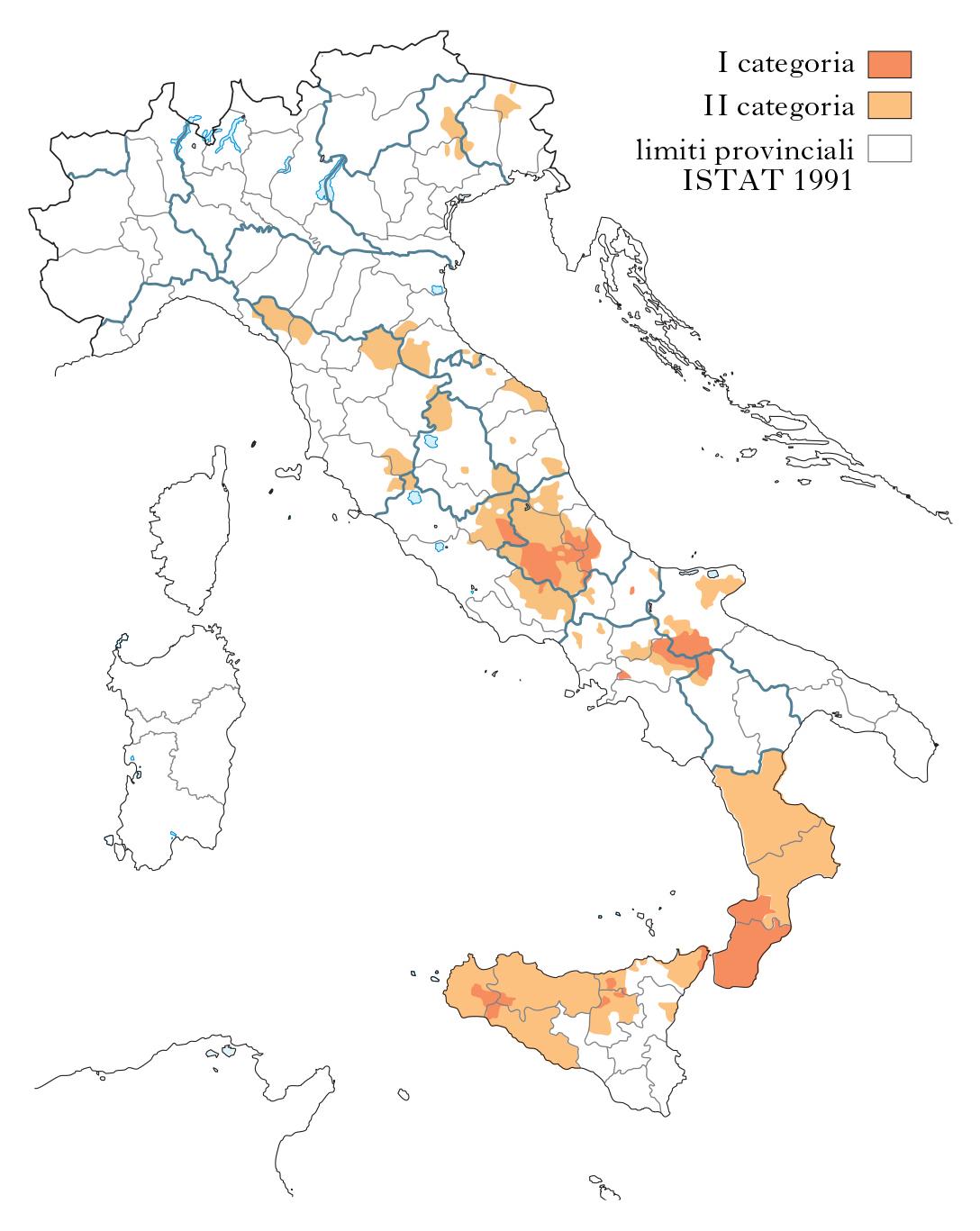 Zone rischio sismico italia il rischio sismico in italia for Mappa sismica italia