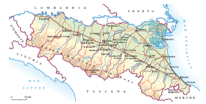 Cartina Della Emilia Romagna.Emilia Romagna Nell Enciclopedia Treccani