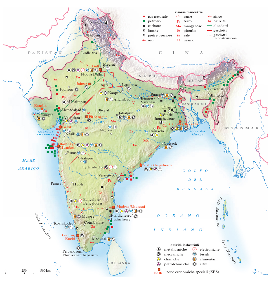 India Fisica Cartina.India Nell Enciclopedia Treccani