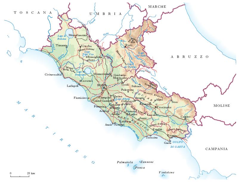 Cartina Geografica Fisica Lazio.Lazio Nell Enciclopedia Treccani