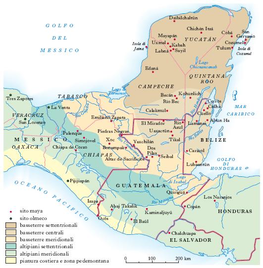 Cartina Yucatan E Chiapas.Maya Nell Enciclopedia Treccani