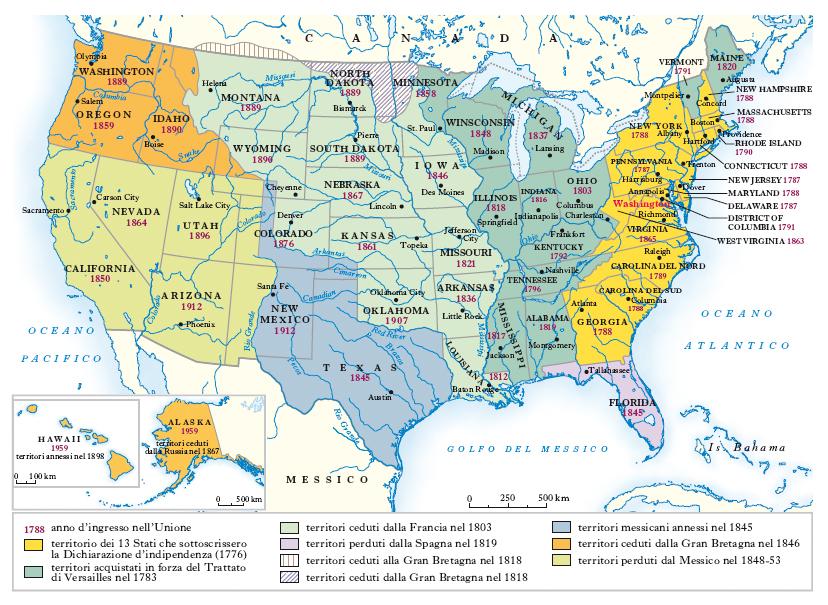 Cartina Stati Uniti Stati E Capitali.Stati Uniti D America Nell Enciclopedia Treccani
