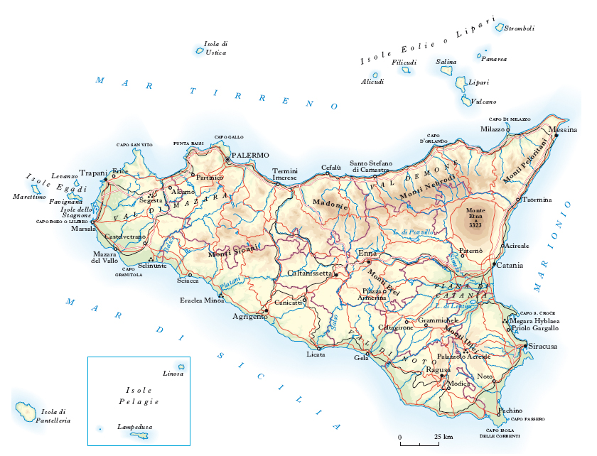 Cartina Geografica Sicilia Fisica.Sicilia Nell Enciclopedia Treccani