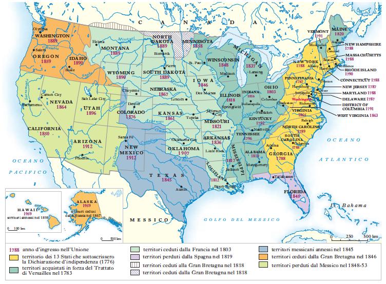Cartina Stati Uniti Con Stati E Capitali.Stati Uniti D America In Dizionario Di Storia